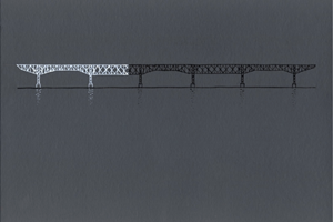 """Study for """"Crossing the Hudson,"""" The Gradual Illumination of the Poughkeepsie Railway Bridge Over a Period of One Year, A Speed of 2 Metres Per Night by Anthony McCall contemporary artwork"""