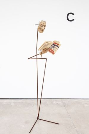 The artist, wearing a mask of the former Fiat supremo Giovanni Agnelli, reads an aside from Dario Fo's political satire Trumpets and Raspberries (1974) in which a disfigured Agnelli has his face reconstructed in the image of a Fiat worker in whose jacket he is found, following a near-fatal kidnapping attempt by Simon Starling contemporary artwork