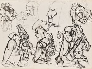 Untitled #18 (Studies for sculpture- double sided) by Dumile Feni contemporary artwork