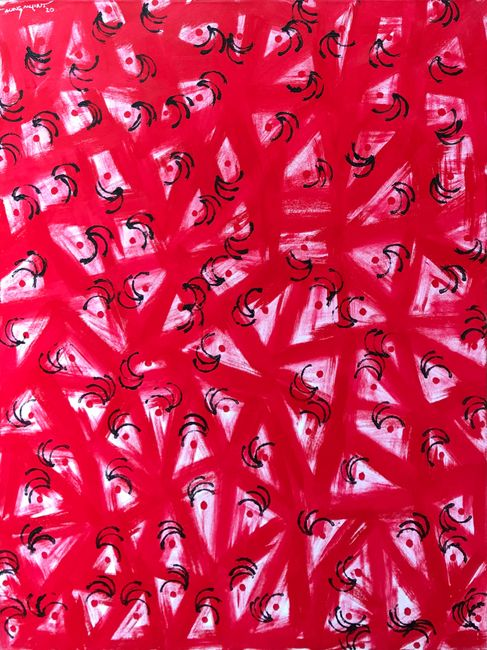 [Red-Dots Are] In the Trap by Aung Myint contemporary artwork