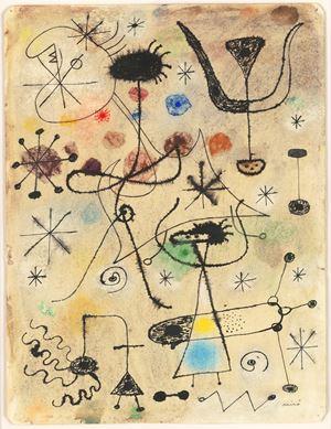 Femmes, oiseau, étoiles by Joan Miró contemporary artwork