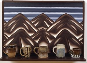 Virtual Still Life #11: Mugs and Mountains by Roger Brown contemporary artwork