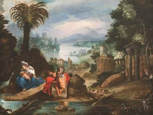The rest on the flight into Egypt by Flemish Master contemporary artwork