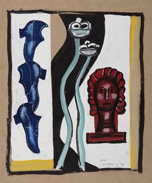 Composition à la tête rouge by Fernand Léger contemporary artwork