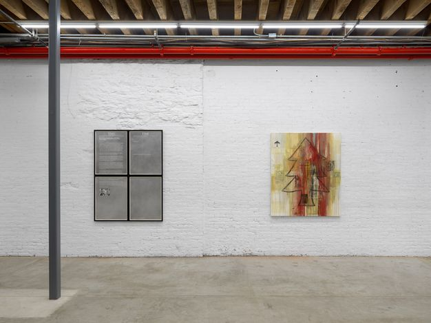 Exhibition view: Group Exhibition, footnotes and headlines, Andrew Kreps Gallery,Cortlandt Alley, New York (8 July–13 August 2021). Courtesy Andrew Kreps Gallery, New York. Photo: Dan Bradica.