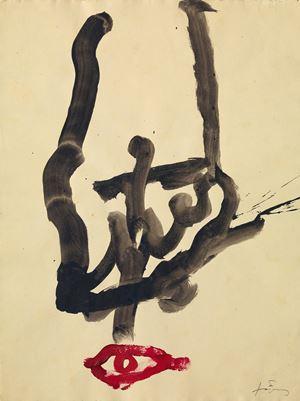 Creu sobre peu I by Antoni Tàpies contemporary artwork