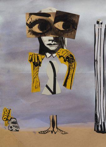 Moyna Flannigan, Tear 58 (2019). Ink, gouache, spray paint and collage on paper. 55 x 43.5 x 3.2 cm (framed). Courtesy Ingleby Gallery. Photo: John McKenzie.