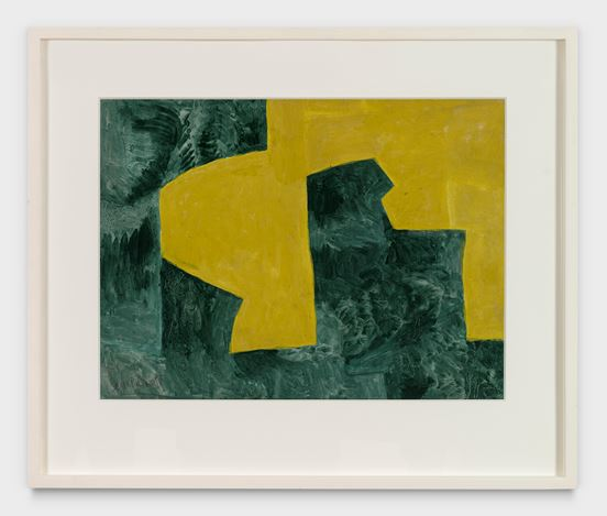Serge Poliakoff, Jaune et Vert (1961). Gouache on paper. 47 x 61 cm. Courtesy Cheim & Read, New York.