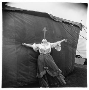 Albino sword swallower at a carnival by Diane Arbus contemporary artwork