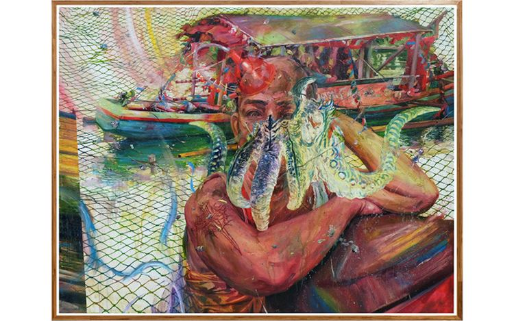 Ronson Culibrina, Dagger (2020). Oil on canvas and bamboo, 122 x 152 cm. Courtesy Yavuz Gallery, Singapore.