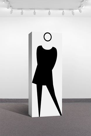 Julian Opie, Fiona tights(1998). Paint on wood, 66 15/16 x 25 3/16 x 11 inches (170 x 64 x 28 cm). Signed on bottom. Courtesy Krakow Witkin Gallery.