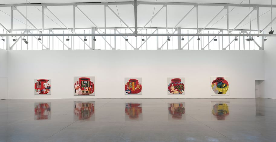 Exhibition view: Jonas Wood, Gagosian, West 24th Street, New York (24 April—19 July 2019). Artwork © Jonas Wood. Courtesy Gagosian. Photo: Rob McKeever.