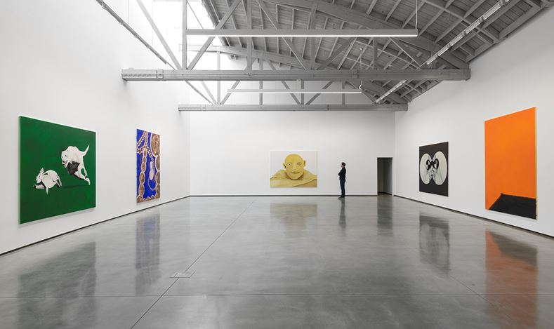 Exhibition view: Calvin Marcus, GO HANG A SALAMI IM A LASAGNA HOG, David Kordansky Gallery, Los Angeles (1 November 2019–11 January 2020). Courtesy David Kordansky Gallery, Los Angeles. Photo: Jeff McLane.