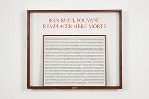Bon parti, pouvant remplacer mère morte by Sophie Calle contemporary artwork