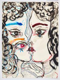 the she - rainbow joining by Del Kathryn Barton contemporary artwork mixed media