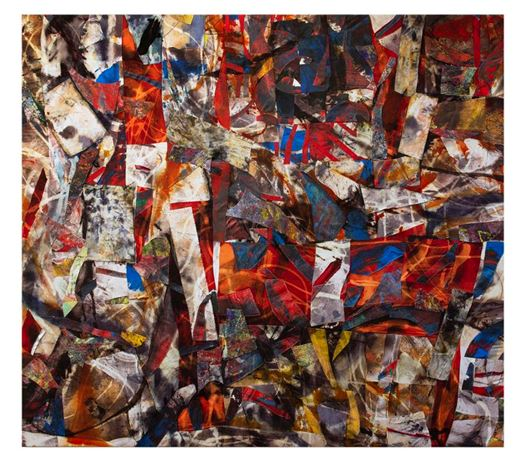 Simon Gardam, Broken Grid - red (2020). Oil, acrylic, synthetic dye and thread on canvas and cotton, 168 x 188 cm. Courtesy Gallery 9, Sydney.