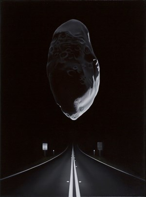 Near Earth asteroid with highway (Prometheus) by Tony Lloyd contemporary artwork
