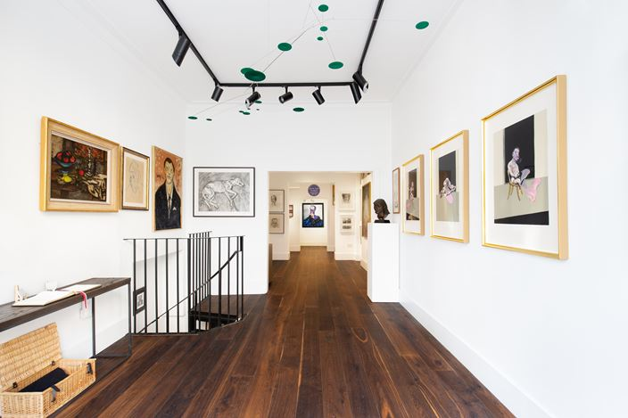 Exhibition view: Group Exhibition, Tales from the Colony Room, Dellasposa Gallery, London (16 September–20 December 2020).