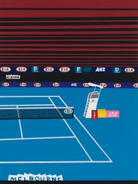 Australian Open with Red Lines by Jonas Wood contemporary artwork painting