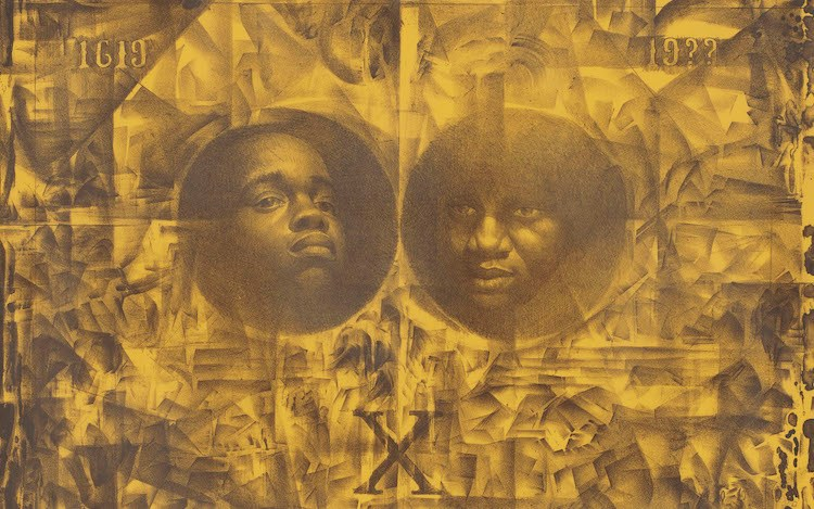 Charles White, Wanted Poster Series   #14a(1970) (detail). Lithograph on paper. 22 x 30 inches. Courtesy David Zwirner.