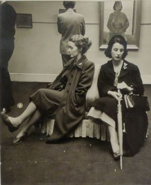 Two women in a Lucien Freud private view at Malborough Gallery, London (portrait of Henrietta Moreas in background) by Daniel Farson contemporary artwork