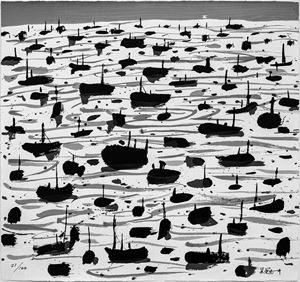 Fishing Harbour 《漁港》 by Wu Guan Zhong contemporary artwork