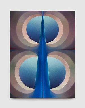 Split orbs in flesh and blue by Loie Hollowell contemporary artwork