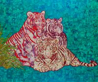 Three Tigers 三只老虎 by Xue Song contemporary artwork painting