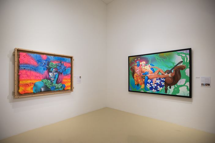 Exhibition view: Ashley Bickerton, Heresy or Codswallop, Gajah Gallery, Singapore (20 January–14 February 2021). Courtesy Gajah Gallery.