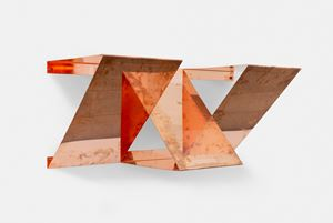 """Copper Surrogates (60"""" x 120"""" 48 ounce C11000 Copper Alloy, 45°/45°/90°, February 23-27/ April 9, 2018, Los Angeles, California; September 2-4, 2019, Brussels, Belgium), 2018 by Walead Beshty contemporary artwork"""