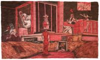 Scenery in Red #3 by William Buchina contemporary artwork painting, works on paper