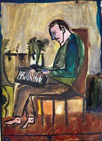 Self Portrait playing piano by Danny Romeril contemporary artwork painting, works on paper