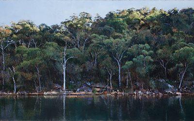 A. J. Taylor,Last Light, Smiths Creek,(Hawkesbury 20),2015,Oil on board,122 x 244 cm.