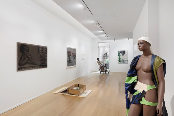 Exhibition view: Group Exhibition, Pedestrian Profanities, Curated by Eric N. Mack, Simon Lee Gallery, New York (29October–12 December 2020). Courtesy Simon LeeGallery. Photo: Pierre Le Hors.