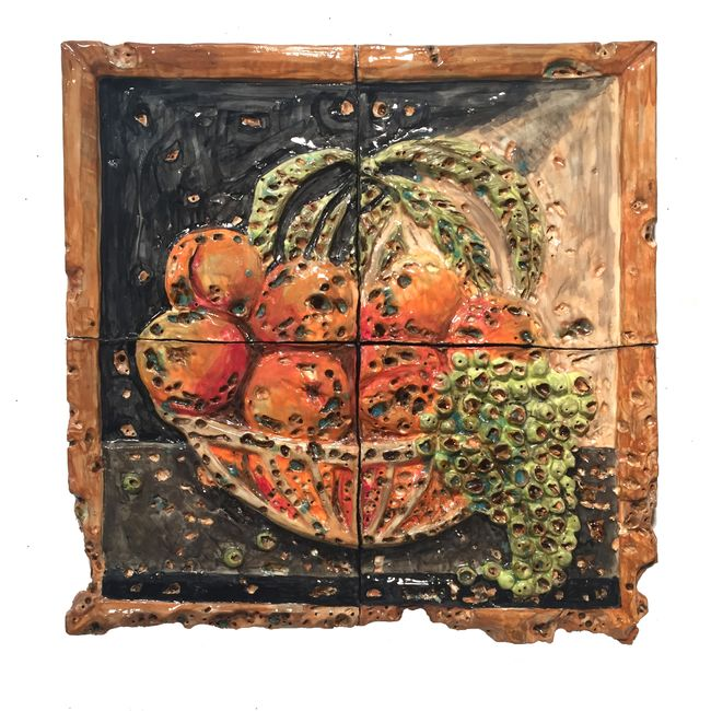 Bowl of Peaches with Holes by Valerie Hegarty contemporary artwork