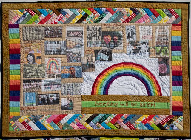 Kamrun Samadi, Quilt of Hope(2020). Fabric quilt. 96.5 x 127 cm. Courtesy Durjoy Foundation.