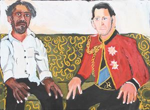 The Royal Tour (Vincent and Charles) by Vincent Namatjira contemporary artwork