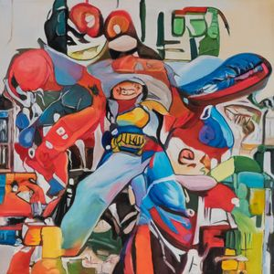 A Group of People Riding on the Back of a Motorcycle by Alexander Reben contemporary artwork painting, works on paper