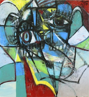 Blue and Yellow Head by George Condo contemporary artwork