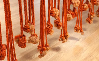 Françoise Grossen, Contact III, 1977, Exhibition view, manila rope, approximately 113 x 350 x 13 inches. Courtesy of the artist and Blum & Poe, Los Angeles/New York/Tokyo.