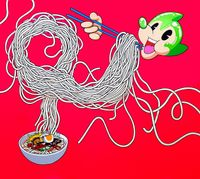 Atomaus Eating Noodles by Dongi Lee contemporary artwork painting