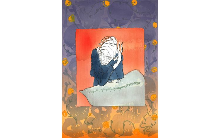 Sanya Kantarovsky, Woe to Wit (2019). Woodblock print on washi paper, 47 x 33 cm. © Sanya Kantarovsky. Courtesy Taka Ishii Gallery, Tokyo.