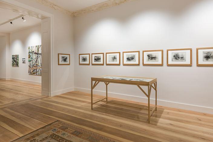 Exhibition view: Group exhibition,Landscape: Abstract – Figurative, Galerie Albrecht,Berlin (26 February–24 April 2021). CourtesyGalerie Albrecht. Photo: Ole Schwarz.