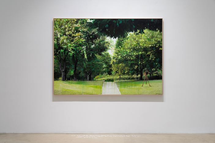 Honggoo Kang, Study of Green-Seoul-Vacant Lot-Seoul Forest (2019). Pigment print and acrylic on canvas. 140 x 200 cm. Courtesy ONE AND J. Gallery.