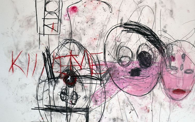 Paul McCarthy, A&E, EXXA, Santa Anita session (2020) (detail). Charcoal, pastel, and collage on paper. 257.8 x 203.2 cm. © Paul McCarthy. Courtesy the artist and Hauser & Wirth.
