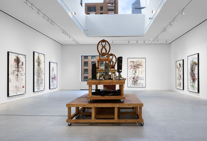 Exhibition view: Paul McCarthy, A&E Sessions – Drawing and Painting, Hauser & Wirth, 22nd Street, New York (23 February–10 April 2021).© Paul McCarthy. Courtesy the artist and Hauser & Wirth. Photo: Thomas Barratt.