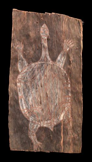 Aboriginal bark painting by Australia contemporary artwork
