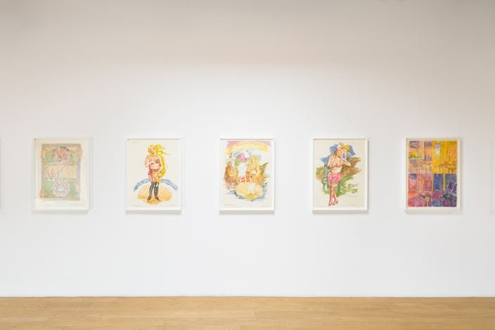 "Exhibition view: Robert Colescott, Two Drawing Sweets:  ""Robert's Complete History of World Art"" (1979) and ""The Girls of the Golden West"" (1980), Blum & Poe, Los Angeles (23 January–6 March 2021). © The Robert H. Colescott Separate Property Trust / Artists Rights Society (ARS), New York. Courtesy The Trust and Blum & Poe, Los Angeles/New York/Tokyo. Photo: Dan Finlayson."