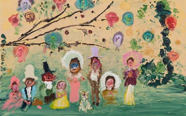 Genieve Figgis, Day out with birds (2020) (detail). Acrylic on canvas. 100 x 140 x 2 cm. © Genieve Figgis.Courtesy the Artist and Almine Rech.