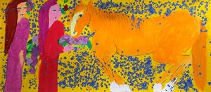 Two Ladies with a Horse of Tangerine Colour by Walasse Ting contemporary artwork
